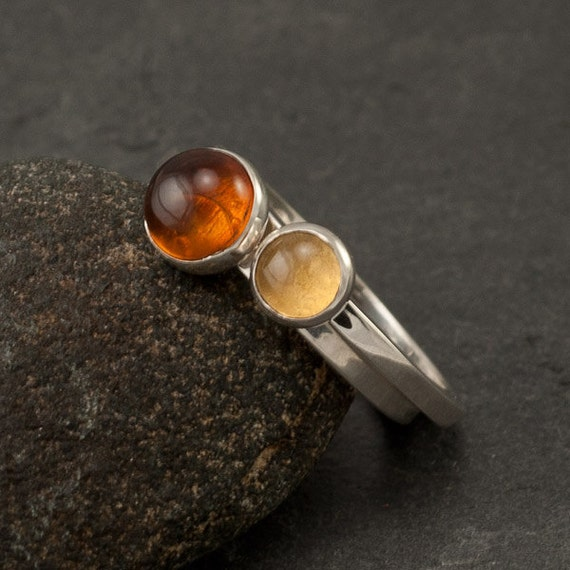 Stacking rings amber ring citrine ring silver stone rings for Amber stone wedding ring