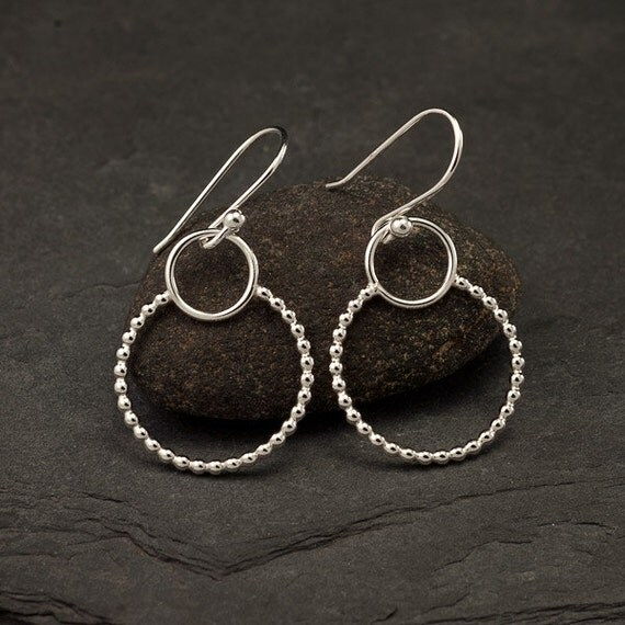 Sterling Silver Earrings- Silver Dangle Earrings- Silver Hoop Earrings- Simple Silver Earrings- Sterling Silver Jewelry Handmade