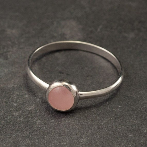 Rose Quartz Ring- Solitaire Ring - Sterling Silver Ring- Pink Stone Ring- Silver Stone Ring- Handmade Silver Jewelry