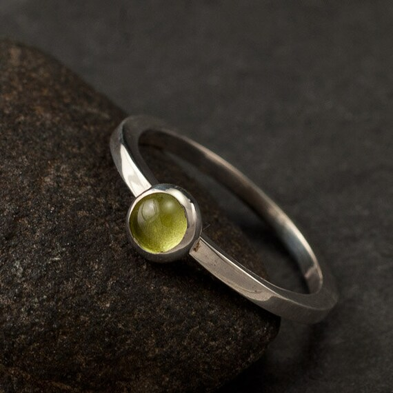 RESERVED for Steve- Sterling Silver Peridot Ring  (size 4)