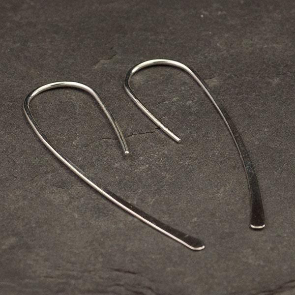 Open Hoop Earrings- Simple Silver Earrings- Long Silver Earrings- Silver Dangle Earrings- Modern Silver Hook Earrings