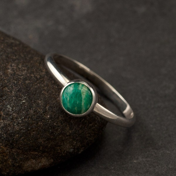 Amazonite Ring Simple Silver Stone Ring Green Gemstone by ...