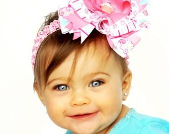 Pink Cupcake Hair Bow, Infant Headband, Baby Headband, Newborn Headband, Birthday Bow, Baby Shower Gift, Disney Princess, 1st Birthday Bow