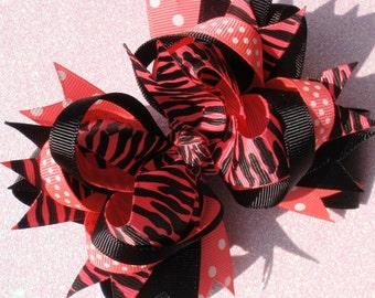 Neon Pink Zebra Hair Bow, School Bows, Birthday Bows, Baby Headband, Infant Headband, Newborn Headband, Baby & Toddler, Dance Bows