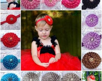 Set of 2 Flower Headbands, U Choose Colors, Infant Headband, Newborn Headband, Baby Headband, Photo Props, Flower Girl, Baby Shower Gift