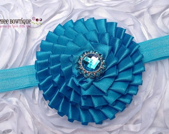 Turquoise Flower Headband, Satin, Infant Headband, Baby Headband, Newborn Headband, Flower Girl, Baby Shower Gift, School Hair Bow, Holidays