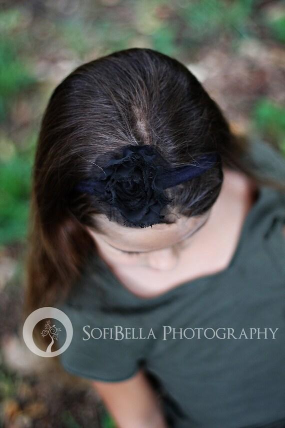 Black Flower Headband, Infant Headband, Newborn Headband, Baby Headband, Weddings, Flower Girl, Baby Shower Gift, Baptism