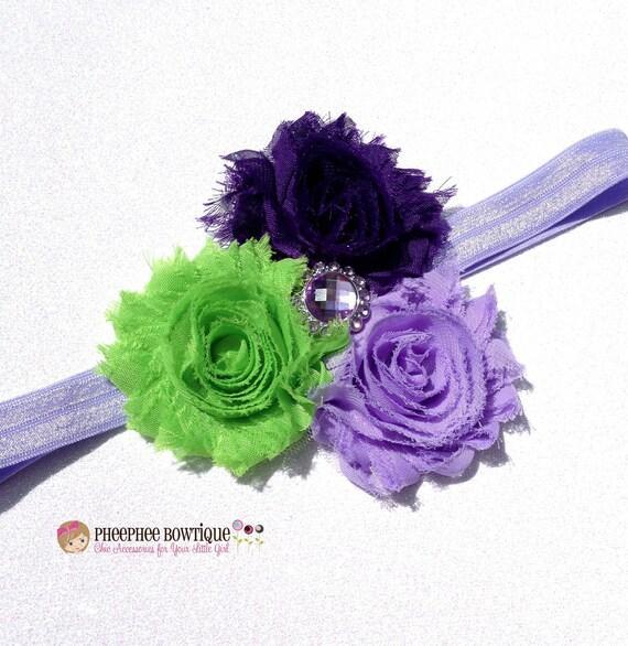 Tinkerbell Headband, Disney Inspired, Lavander, Purple, Lime Green, Baby Headband, Infant Headband, Newborn Headband, Flower Girl, Halloween