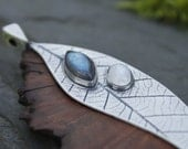 RESERVED for Jan.....Sterling silver and wood pendant - burr elm - moonstone - labradorite - leaf print