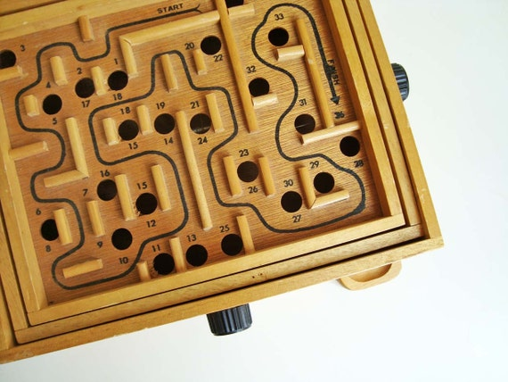 Vintage Wooden Marble Maze or Labyrinth