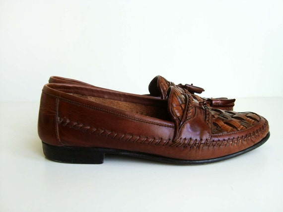 Giorgio Brutini Le Glove Woven Leather Loafers with Tassels - Reddish Brown - Men's 7.5 D