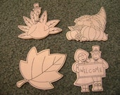 Set of 4 Unfinished Wooden Fall Decorations -- Turkey, Cornucopia, Fall Leaf, Welcome Sign