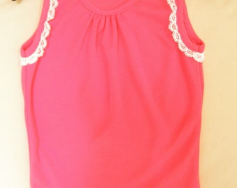 Girls Summer Dress -- Rose Pink -- Cotton with lace trim -- Size 2T