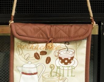 Summer Purse -- Espresso pattern -- Beaded design --  Jute shoulder length strap