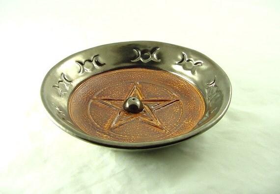 Incense Burner Handmade Fiery Pentagram Ceramic Pottery