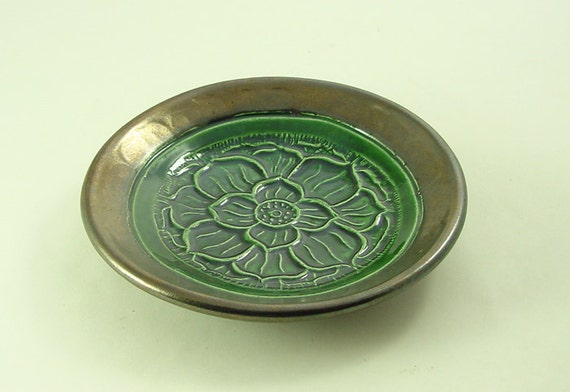 Lotus Raku Offering Bowl  Handmade Ceramic Pottery