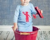 Little Pilot Nostalgic Graphic Tee Gown - Sky with Red Free Shipping