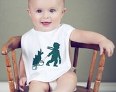 Little Woodsman Nostalgic Graphic Bib in White with Forest