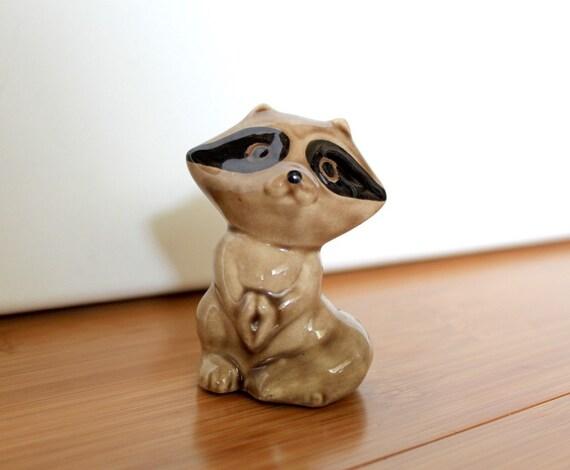 Darling Vintage Bandit Brown and Black Little Ceramic Raccoon Figurine by Uptown Vintage