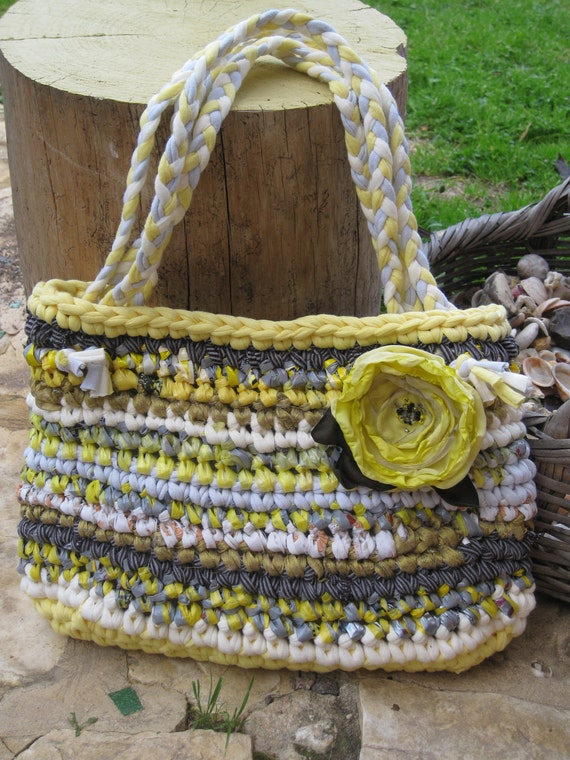 Large fabric crocheted rag bag... Yellow, white and grey... eco friendly ... OOAK