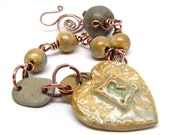 Locked Up Love Beach Stone and Ceramic Bracelet