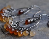 Hessonite Garnet Sterling Chandelier Earrings