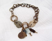 October Moon Beach Stone Brass Bracelet