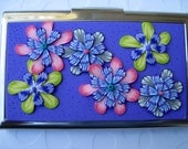 Business Card Holder, Metal Wallet, Credit Card Holder - Polymer Clay - One of A Kind Original