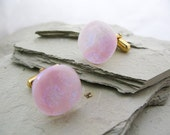 Mens Glass Dichroic Cufflinks Metallic Baby Pink Glass Jewelry, Dichroic Fused Glass Mens Jewelry, Cotton Candy Pink Glass Cufflinks