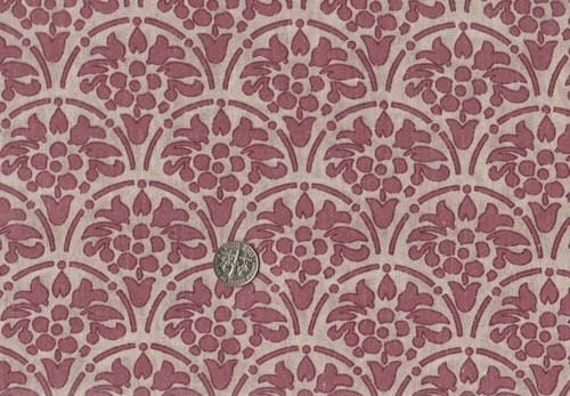 Victorian Era Quilting Fabric Tea Stain And Burgundy Print