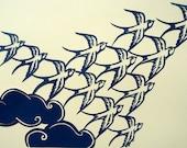 Swallows paper-cut