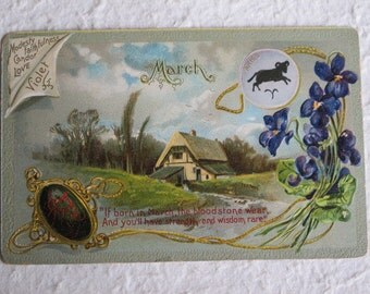 If Your Birthday Is In March...Lovely c.1911 Postcard Raphael Tuck Bloodstone Birthstone Violet Flowers Aires Sign