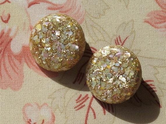 c1960 Lucite Glitter Earrings Rainbow Irridescent Sparkles