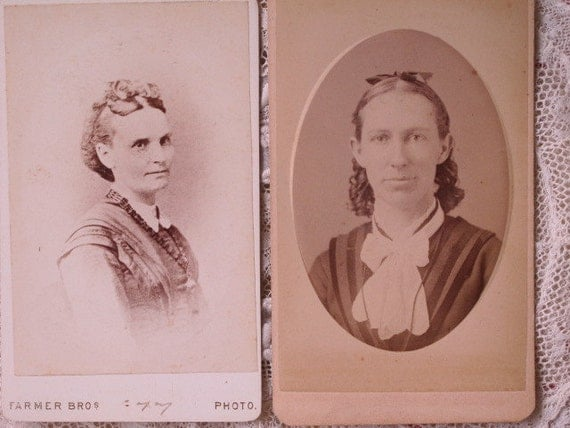 Portraits of 2 Ladies Victorian Cabinet Card Photos c1860s Civil War Era