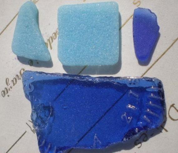 SMALL Pieces of BLUE OCEAN - 4 Genuine Sea Glass