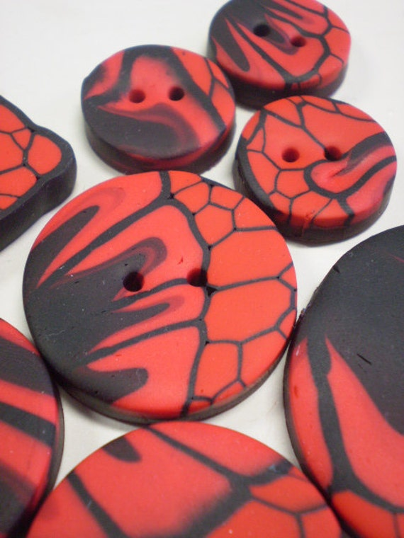 FIRE BUTTERFLY - 8 Polymer Clay Buttons