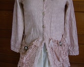 Jacket  womens  Lt Rose tea dyed cotton jacket upcycled with vintage crochet laces and pictoral button