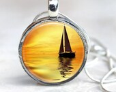Sailing Pendant - Autumn Sunset Sailboat  - Sloop - Silver, Gold or Copper - you choose