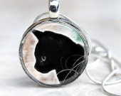 Cat Pendant - Midnight - Black - Round Art Photo with chain Necklace - You choose finish and chain