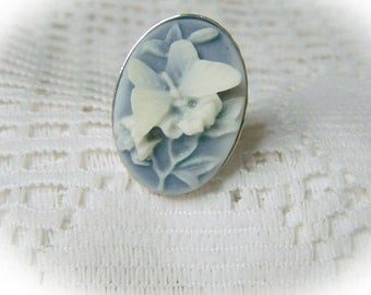 Butterfly Cameo Ring - Adjustable Ring - Butterflies & Flowers - Misty Blue and Silver - Something Blue