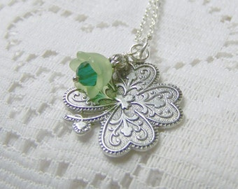 SHAMROCK Necklace - LUCKY Charm - Silver Shamrock Pendant with flower -  Irish Jewelry - Irish Wedding - 4 Leaf Clover