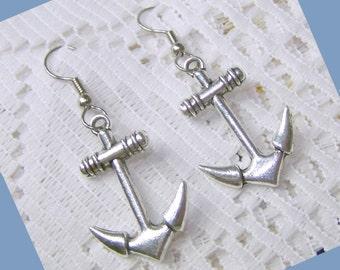ANCHOR Earrings - Silver - Dimensional - Large Anchor Earrings - Nautical Earrings - Sorority Jewelry -  Symbol of Hope