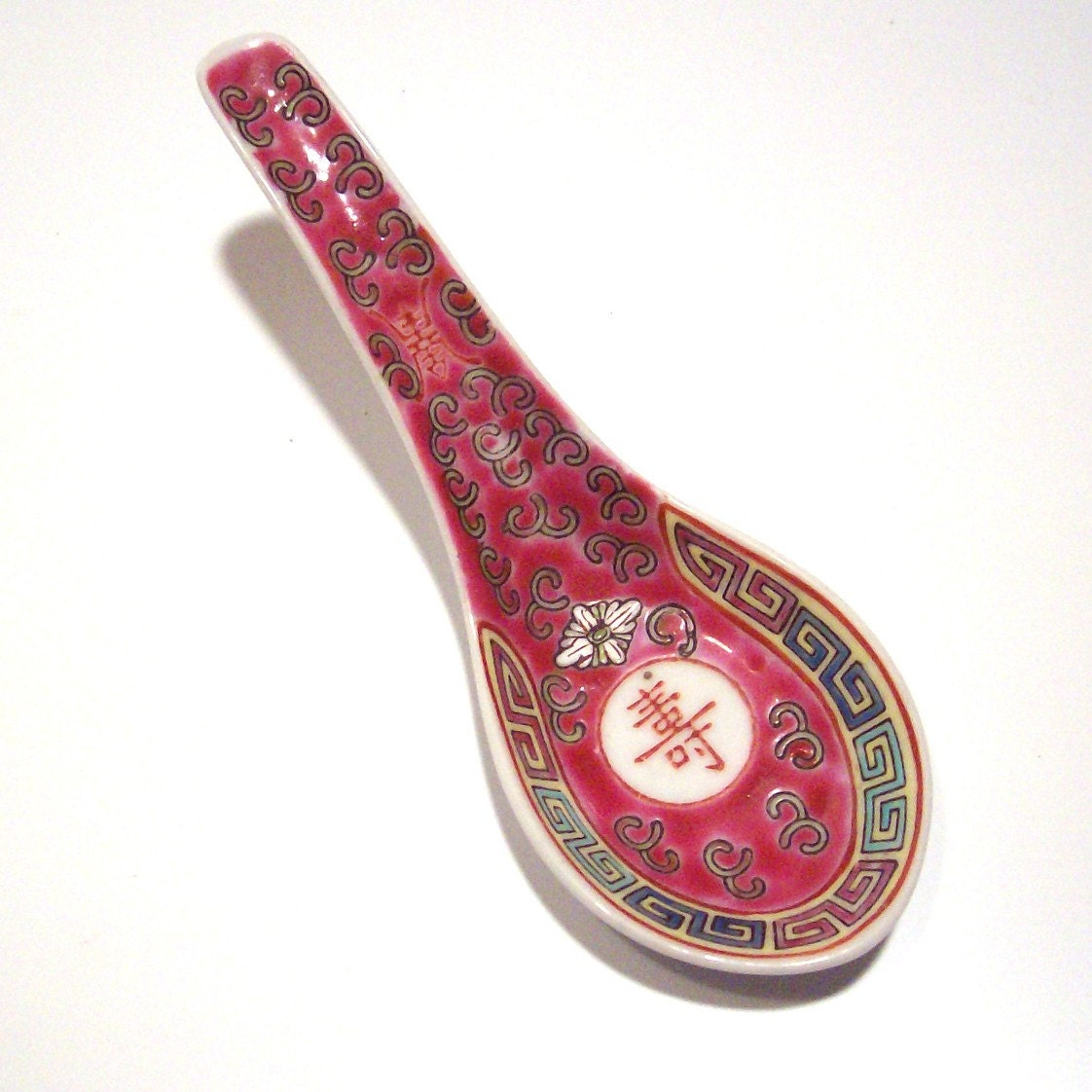Vintage Hand Painted Chinese Soup Spoon