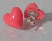 Coral Pink Heart Stud Earrings