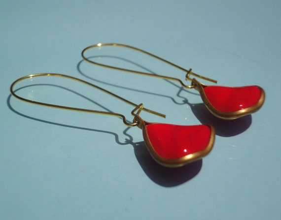 Vintage Cherry Red Glass Flower Petal Dangles