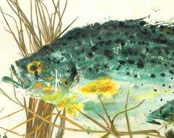 "Speckled Perch - ""Water Garden"" - Gyotaku Fish Rubbing - Limited Edition Print (18 x 12)"