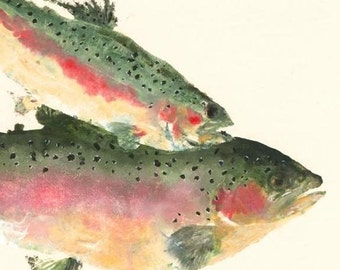 """Rainbow Trout - """"Over the Rainbow"""" - Gyotaku Fish Rubbing - Limited Edition Print (17 x 12.5)"""
