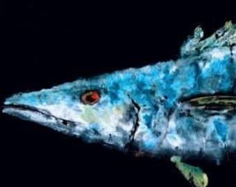 Blue Water Wahoo - Gyotaku Fish Rubbing - Limited Edition Print (37.5 x 10.5)