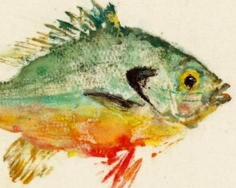 Redbreast - Gyotaku Fish Rubbing - Limited Edition Print (10 x 8)