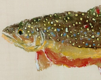 Brook Trout - Gyotaku Fish Rubbing - Limited Edition Print (15 x 7)